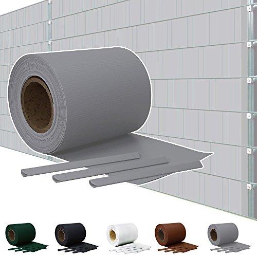 Kingpower Sichtschutz PVC Doppelstabmatten Zaunfolie Windschutz Sichtschutzstreifen Blickdicht Windschutz 5 Farben, Farbe:Grau, Rollenlänge:65 m