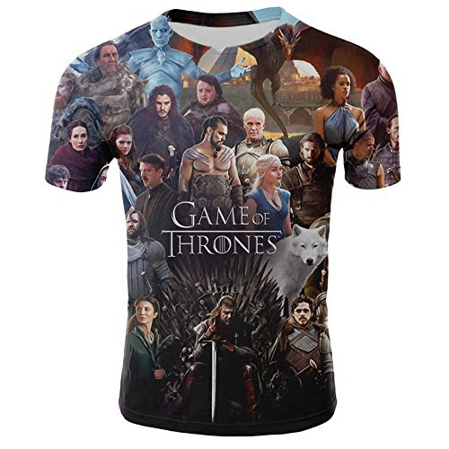 Ywfzzxs T-Shirt 3D Tops Mode-T-Shirts Unterhemden Kurzarm Unisex Neuheit Kostüm HD Anime Druck Game of Thrones (Game Thrones Of Kostüme Männer)