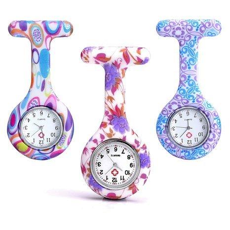 Boolavard® TM 3pcs Flores de silicona reloj de la enfermera del doctor del paramédico de la túnica de la broche de reloj de bolsillo médico, paquete de 3