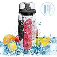OMORC Botella de agua sin BPA con filtro infusor de frutas de facil limpieza (incluye cepillo), Negro, 1000ML