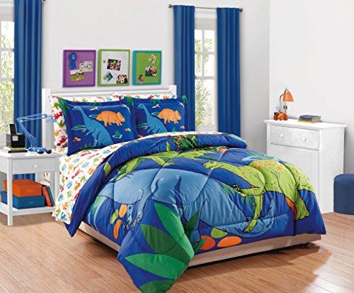 MK Collection Spannbetttuch Set Dinosaurier Blau Grün Orange Rot Weiß # Dino Weiß Neu Twin Comforter -