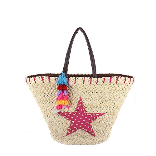 Ideal Shoes , Borsa da spiaggia Fuchsia