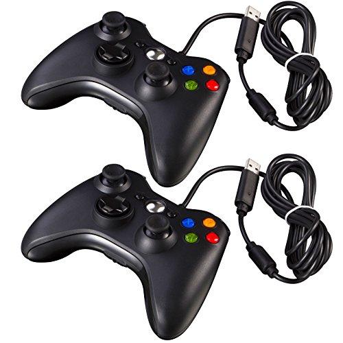 2x New Schwarz Wired USB Game Pad Controller für Microsoft Xbox 360PC Windows