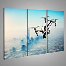 Quadro moderno Drone volare sopra città di Dubai Panorama in motion blur Stampa su tela - Quadri moderni x poltrone salotto cucina mobili ufficio casa ! GHR