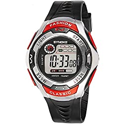 QBD Boys Girls Sport Watch 50 Feet Waterproof LED Digital Watch Red