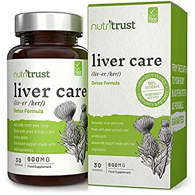 Liver Care 600 Mg Capsules by Nutritrust® - High Strength Detox Formula - Supports Liver & Gallbladder Health - Naturally Reset Your Body with Advanced Support Made from Real Active Ingredients. from Nutritrust