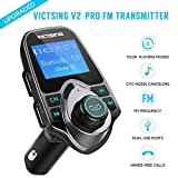 #8: Fm Transmitter for Car, Victsing Bluetooth Radio Transmitter from Phone to Car, Fm Stereo Transmitter Kit for Music, Mp3 Player Fm Modulator with Dual USB 5V 2.1A USB Charger, 1.44 Inch LCD Display, 4 Playing Modes, Wireless Fm Broadcasting, Aux Car Audio Fm Adapter for iphone ipod Android & more Devices , Silver