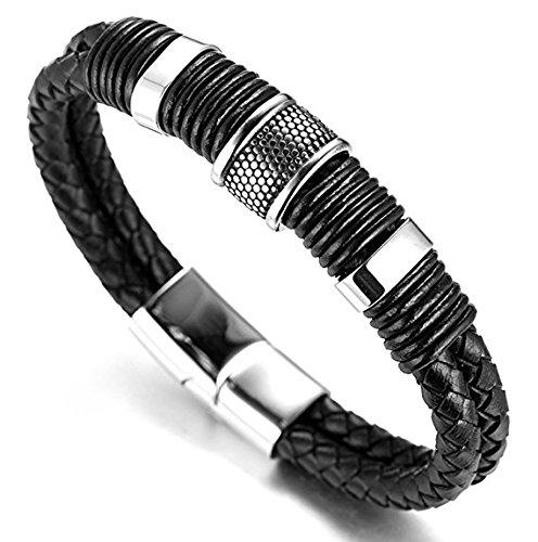 icatcher® Jewelry Titan Herren Echt Leder Armband schwarz geflochten 21,5 cm 21,5 cm Einzelheiten Titan Stahl nickel frei mit Geschenk-Box (Nickel, Leder)