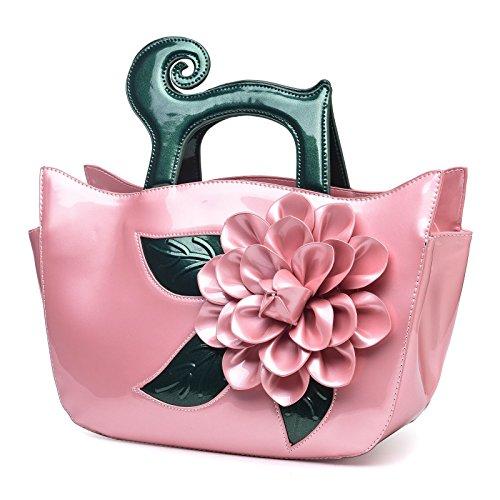 KAXIDY Borse Pelle Verniciata Borsa Fiore Borse Eleganti Borse Tracolla Rosa