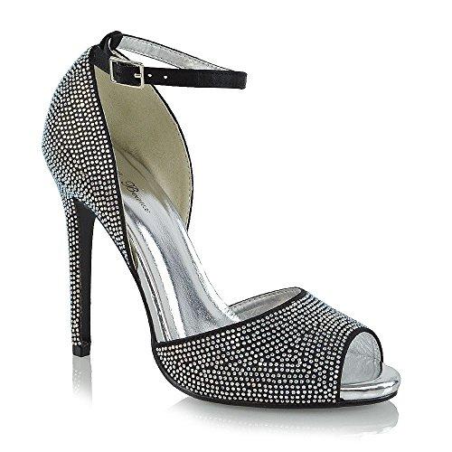 ESSEX GLAM Damen Hohe Absatz Satin Knöchelriemen Schuhe mit mit mit Strasssteine Offener Zehe Hochzeit Abschlussball Brautschuhe Schwarz Satin 5831f8