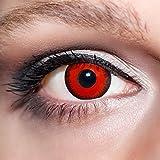 KwikSibs farbige rote Kontaktlinsen Vampiraugen 1 Paar (= 2 Linsen) weiche Linsen inklusive Behälter und 50ml Pflegelösung (Stärke / Dioptrie: -1,50)