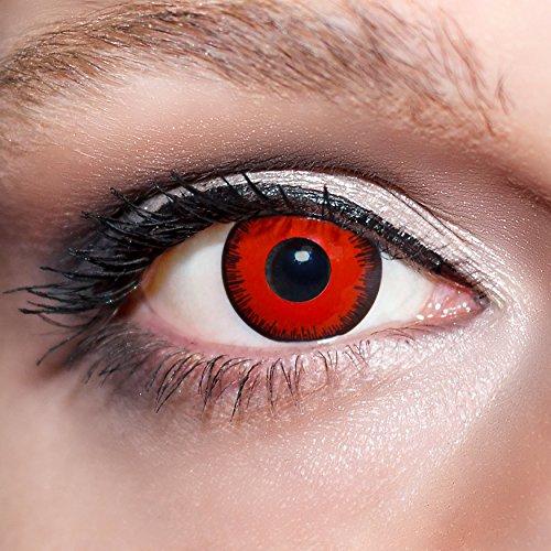 KwikSibs farbige Kontaktlinsen, rot, Vampir, weich, inklusive Behälter, BC 8.6 mm / DIA 14.0 / -3,75 Dioptrien, 1er Pack (1 x 2 Stück)