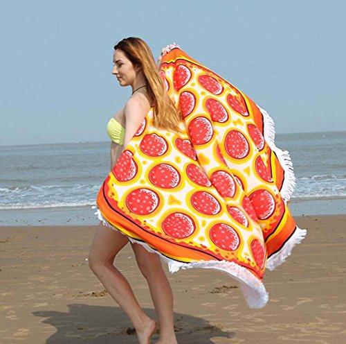 1 pc circolare superfine fibra tassel lace beach asciugamano cuscino fiore creativo boho gypsy tovaglia arazzo yoga mat beach scialle picnic mat pizza modello 150 * 150cm ( color : pizza )