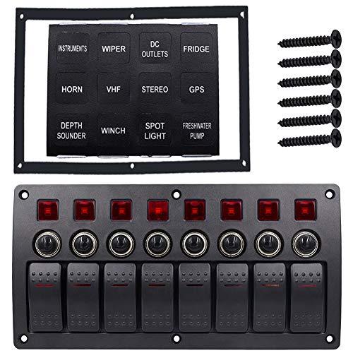 Lin XH Waterproof 8 Gang wasserdichte Sicherung Panel Switch Panel 12-24V für Auto Boot