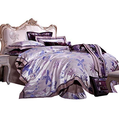 JR%L Lila Gold Böhmisch Bettbezug, Florale Muster Gedruckt Bettzeug Weich Und Komfortabel König Bettbezug Kissenbezüge-a Queen2 - Hand Gedruckt Floral Wrap