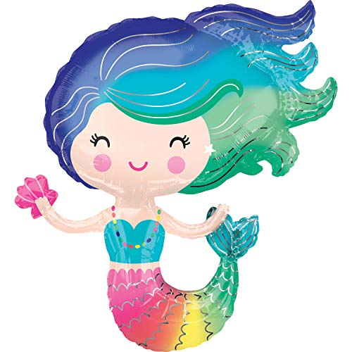 Kostüm Jungfrau Eine Wie - Amscan 3847201 Folienballon Supershape Bunte Meerjungfrau, Mehrfarbig