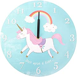 Funciona con pilas de madera redonda Once Upon a Time unicornio arco iris de los niños reloj de pared