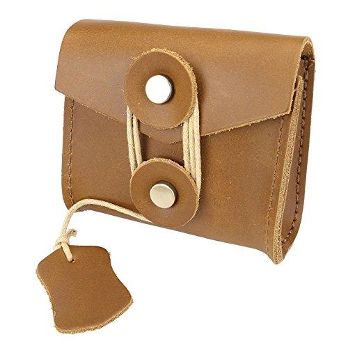 Faleto klein Echt Leder Minibörse Minigeldbörse Münzbörse Kopfhörer Taschen für Damen und Herren (Braun) Gelb