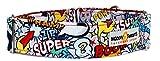 Noddy & Sweets Hundehalsband, Martingale, 3,8cm breit, Superhelden-Design, Pink