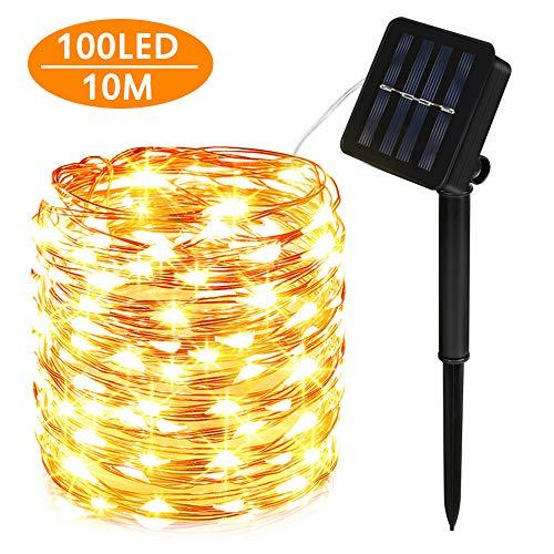 Nasharia Solar Lichterkette Außen, 100 LED Lichterkette Mit 10M Kupferdraht 8 Modi Warmweiß Dekorative Lichterkette Wasserfest String Beleuchtung Ambiente für Garten, Schlafzimmer, Hochzeit