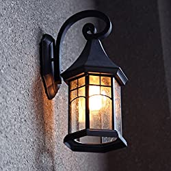 Continental retro outdoor wall lamp waterproof outdoor garden lights lamps creative American balcony stairs facades Wall ( Color : Black )