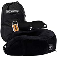 Ergonomad 100% Pure Memory Foam Travel Neck Pillow - Complete Airplane Comfort Kit with Sleep Mask, Ear Plugs and Carrier Bag - Easy to Store and Soft Velour Cover