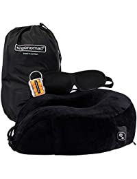 Ergonomad 100% Pure Memory Foam Travel Neck Pillow – Complete Airplane Comfort Kit With Sleep Mask, Ear Plugs and Carrier Bag – Easy to Store and Soft Velour Cover
