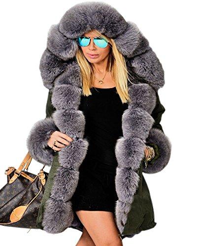 Aofur Damen Winter Freizeit Parka Jacke Faux Pelz Gefüttert Kapuzen Trench Top Coat Army Parka große größen 36-50 Overcoat Steppjacke (38/40, Amry grün) Mantel Top Coat
