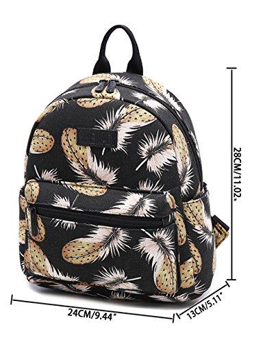 Tibes Fashion Wasserdichte Frauen Daypack Netter Rucksack für Mädchen PU Lederschul Taschen Trekking Rucksäcke Weiß B Schwarz S
