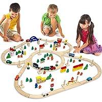 EYEPOWER Circuito de Tren + Pueblo | 130 Piezas de Madera | 5 Metros de ferrocarril + Casas + árboles + Coches + Personaje + etc | para niños y niñas