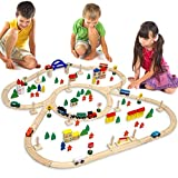 12075, Wooden Train Set, 130 Pieces, More than 5 m of Tracks, Compatible