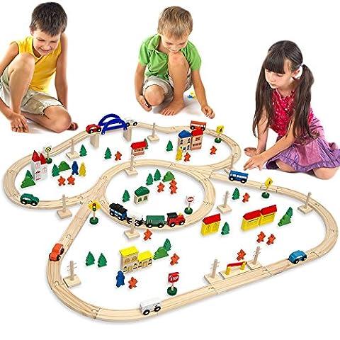 eyepower Holzeisenbahn für Kinder mit 130 Teilen | Spielzeugeisenbahn mit über 5 Meter Schienenlänge und Zubehör für eine ganze Stadt | Holzeisenbahn-Set für Mädchen und Jungen