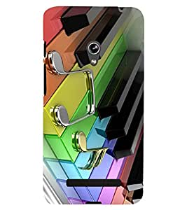 printtech Colored Piano Keys Back Case Cover for Asus Zenfone 5 / Asus Zenfone 5 A500CG