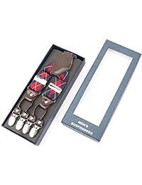 RIONA Tirantes Para Mujer Hombre Clip De Botón Y-Forma 35mm Cuero Adjustable OMxzs75t