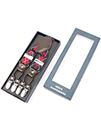 RIONA Tirantes Para Mujer Hombre Clip De Botón Y-Forma 35mm Cuero Adjustable