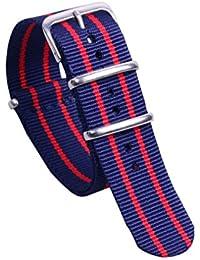20mm azul prima / rojo oscuro estilo de la NATO transpirable súper exótico tipo Reloj pulsera de los hombres de nylon