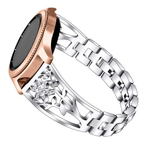 Glowjoy kompatible mit Samsung Galaxy Watch Active,Solid Edelstahl Metall Ersatzarmband Uhrenarmbänder Crystal Frauen Mädchen Metallarmband Watch Bändern Wristband Uhr Zubehör (Silber)