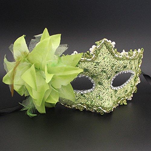 Damjic Halloween Leder Halbe Gesichtsmaske Spitze Seite Flower Make-Up Maske Prom Maske (Up Make Jester)