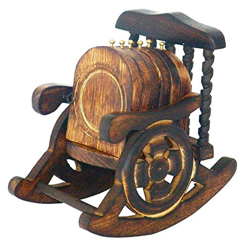 Worthy Beautiful Miniature Rocking Chair Design Wooden Tea Coffee Coaster Set  available at amazon for Rs.249