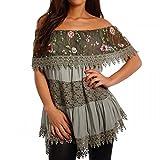 Young-Fashion Damen Tunika mit Spitze und Blumendruck Carmen-Kragen, Farbe:Khaki;Größe:One Size