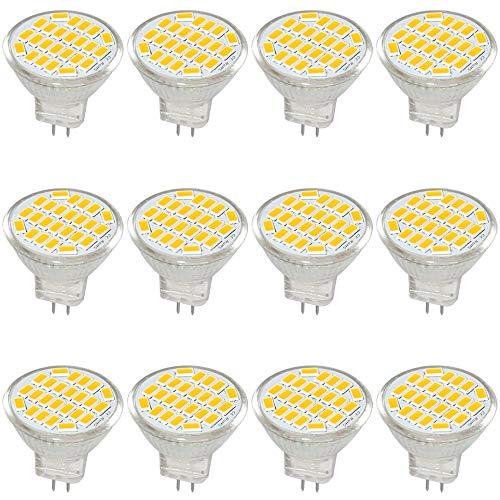 Jenyolon MR11 GU4 LED Lampen Warmweiss 3W AC/DC 12V, 3000K, 400Lm, Ersatz für 30W Halogenlampen Glühlampen, MR11 LED Leuchtmittel klein Birne Spot Licht, 120°Abstrahlwinkel, 12er Pack -
