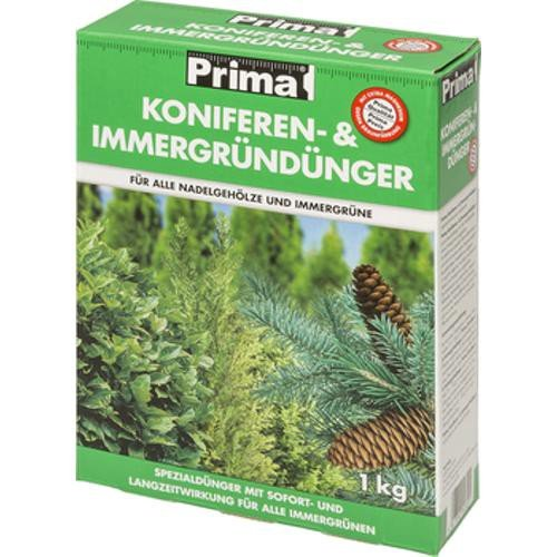 Prima Konifere- und Immergrün Dünger 1kg - Hochwertiger Spezial Langzeitdünger - Schützt vor Braunfärbung - fördert Regenerationsfähigkeit