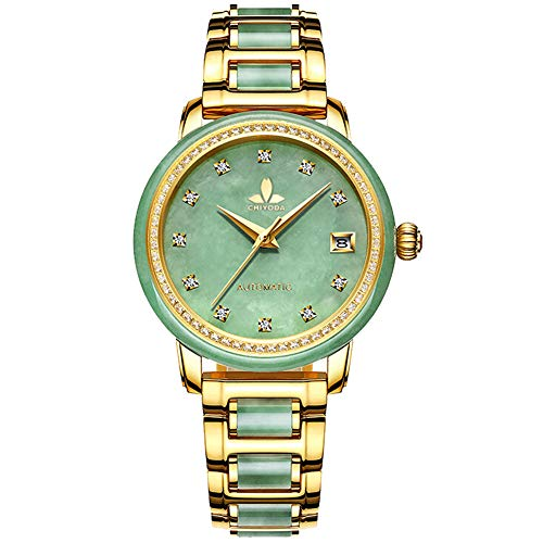 CHIYODA Automatikuhr für Damen, Eleganz Automatikuhr mit Kalender und Grün Jade Zifferblatt, Wertvolle Uhr für Sammlung - Grün Jade