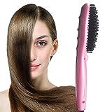 Chucalyn Défrisant de brosse, brosse de fer de redressage de cheveux, chaleur instantanée peigne de coiffure droite, fer à redresser électrique en céramique/peigne avec le soin ionique sain de cheveux