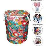 Kuber Industries Round Cloth Foldable Laundry Basket Bag, Volume:-30L,Multi Color