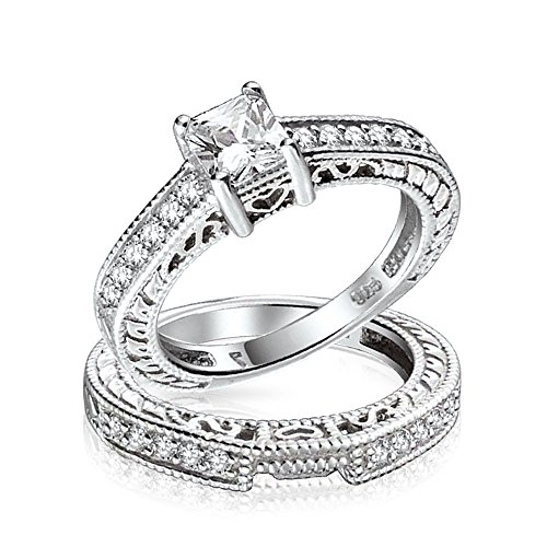 Bling Jewelry 0.75ct (5mm) CZ Sterling Silver Wedding Engagement Ring Set