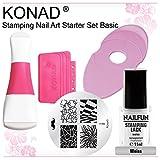 KONAD® Starter Set Basic: Double Edge Stempel zweiseitig + XL Scraper + Schablonenhalter oval + Schablone m98 + NAILFUN Stamping Lack weiss 11ml