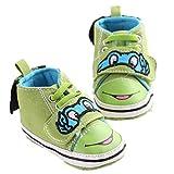 GenialES Sneaker Zapatillas de Algodón Suevas para Primeros Pasos Bebé Recién Nacidos 0-12 Meses Verde 12cm