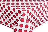 Home Direct Nappe Toile cirée PVC Rectangulaire 140 x 240 cm à Pois Rouge Blanc