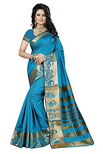 J B Fashion Women's firozi cotton silk saree with blouse piece (saress...